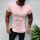 Men Short Sleeve Half Open Muscle Fit T-Shirts