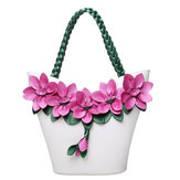 Brenice Women Leather Floral Decoration Bucket Bag National Style Handbag