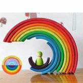 12 Pcs Brinquedos Do Bebê Arco-Íris Blocos De Madeira Rainbow Stacker Aninhamento Criativo Montessori Blocos de Construção de Brinquedos Educativos