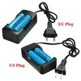 2x Elfeland 3.7V 3000mAh 18650 Li-ion Batterie + EU/US Fiche de Chargeur