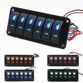 12V 24V 6 Gang Dual LED Light Bar Caravan Marine Boat RV Rocker Switch Panel