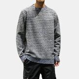 Mens Casual Cotton Crew Cuello Suéteres gruesos cómodos sueltos