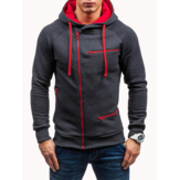 Men's Casual Zipper Decoration Drawstring Hooded Sweatshirt