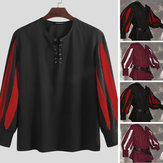 Men's Medieval Pirate Knight Top Cosplay Costume Lace Up Party Tunic Tops Shirts