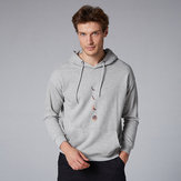 Men Cotton Moon Print kangaroo Pocket Drawstring Hooded Swea