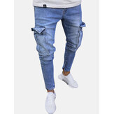 Mens Cotton Multi Pockets Casual Ripped Jeans Denim Pants