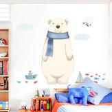 Miico FX82027 2ピース漫画ウォールステッカーかわいいシロクマ印刷子供部屋と幼稚園装飾ステッカー