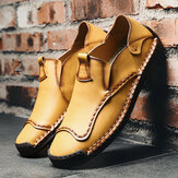 Men Hand Stitching Soft Sole Leather Shoes