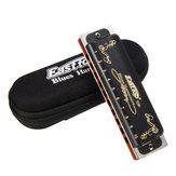 2PCS Easttop T008K 10 Hole C Key Blues Harmonica Black