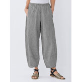 Women Elastic Waist Stripe Cotton Baggy Pants with Pockets