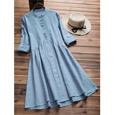 Women Vintage Tunic Retro Ethnic Midi Shirt Dress