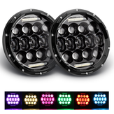 7 Inch Car Halo RGB LED Headlights Angel Eyes Lights bluetooth Support APP Control Waterproof High Low Beam Fog Lamps 7 Inch 2Pcs For Jeep Wrangler JK 1999-2017