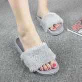 Women Fluffy Solid Color Open Toe Comfortable Home Slippers