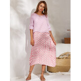 Crew Neck Two-piece Set Polka Dot Splice Long Sleeve Dress