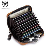 Bullcaptain Men Genuine Leather Multi-slots Card Holder