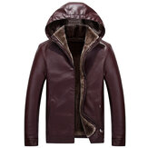 Mens Fashion PU Reißverschluss Windproof Hooded Warm Jacket