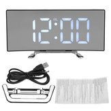 Alarme Relógio LED Display de espelho Digital Temperature Snooze Table Carregamento USB