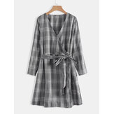 Plus Size Plaid Bow Knot V-neck Long Sleeve Vintage Dress