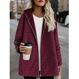 Women Fleece Long Sleeve Plaid Casual Coats