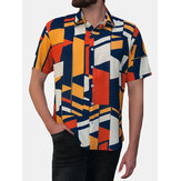 INCERUN Mens Geometric Printing Short Sleeve Fit Shirts