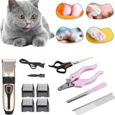 11/7/4PCS 5W 800 RPM Rechargeable Washable Cat Dog Hair Manual Clipper Steel Comb Nail Clipper Animal Trimmer Electrical Pet Clipper