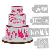 4 stks Liefde Cake Cookie Fondant Side Stencil Bruiloft Template Bakvorm Decor Tool