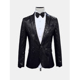 Men V-neck Shiny Sliver Sequin Blazer