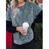 Plus Size Splice Crew Neck Side Split Sweatshirt