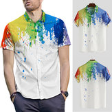 Heren Hawaiiaans bedrukte casual shirts Zomer Beach Sleeve Stag Top Tee met korte mouwen