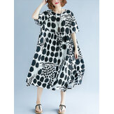 Women Polka Dot Print Casual Loose Vintage Dress