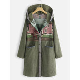 Ethnic Print Patch Pockets Hooded Corduroy Coats