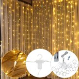3M*3M USB 300 LED Curtain String Light With 10 Hooks for Outdoor Festival Decor Christmas Wedding DC5V