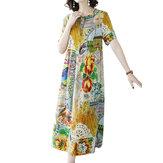 Старинные кружева с принтом с короткими рукавами Loose Oversize Платье