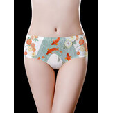 Flora Printed Ice Silk Mid Waist Full Hip Seamless Briefs