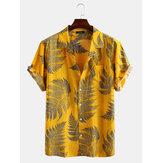 Dennenbladeren print katoenen relaxte shirts met korte mouwen