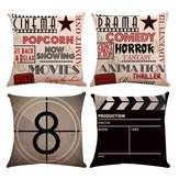 4PCS Linen Sofa Car Home Movie Theater Cinema Pillow Case Cushion Cover