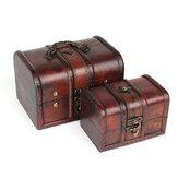 Vintage Wooden Jewelry Box Antique Storage Organizer Case