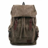 Men And Women Canvas Backpack Leisure Drawstring Rucksack Students School Bags