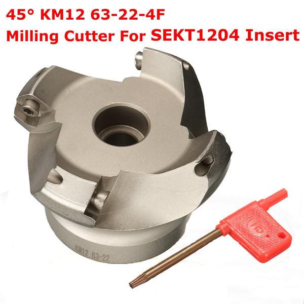Drillpro KM12 63-22-4F 45 Derece Yüz Freze SEKT1204 Eklemek Için 4 Flüt Torna Parçalar