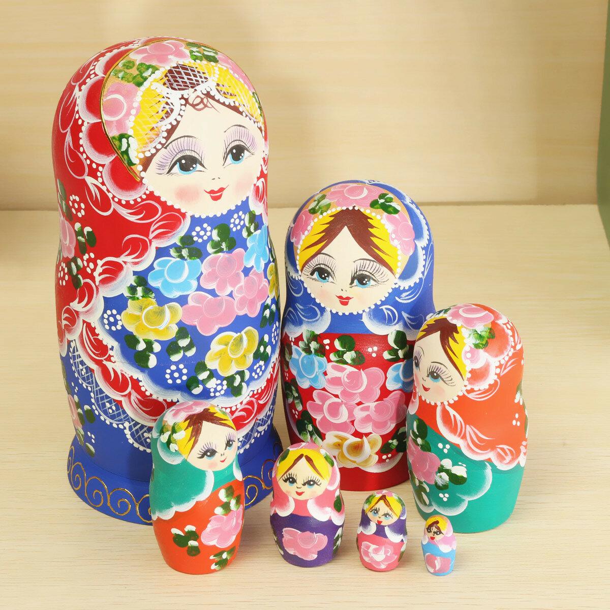 Matryoshka 7ネストドール狂気のセットロシア木製人形玩具