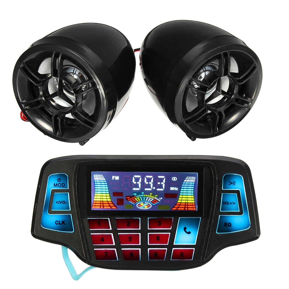 Motorcycle Handlebar MP3 Balck Speakers Audio System USB SD FM with bluetooth Function