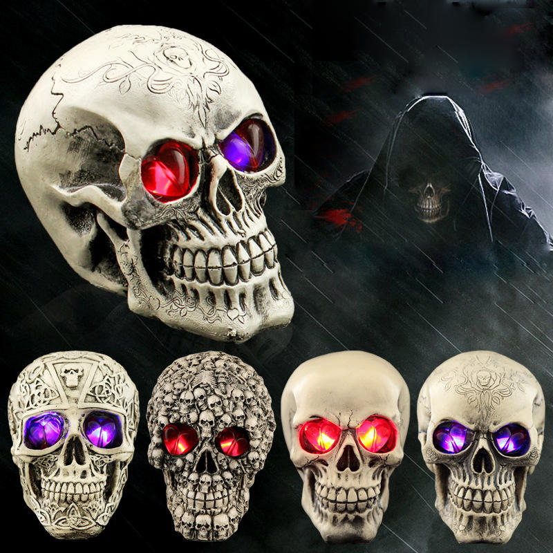 Halloween Human Prop Resin Caveira LED Night Lights Decorative Novelty Pranksters Halloween Supplies