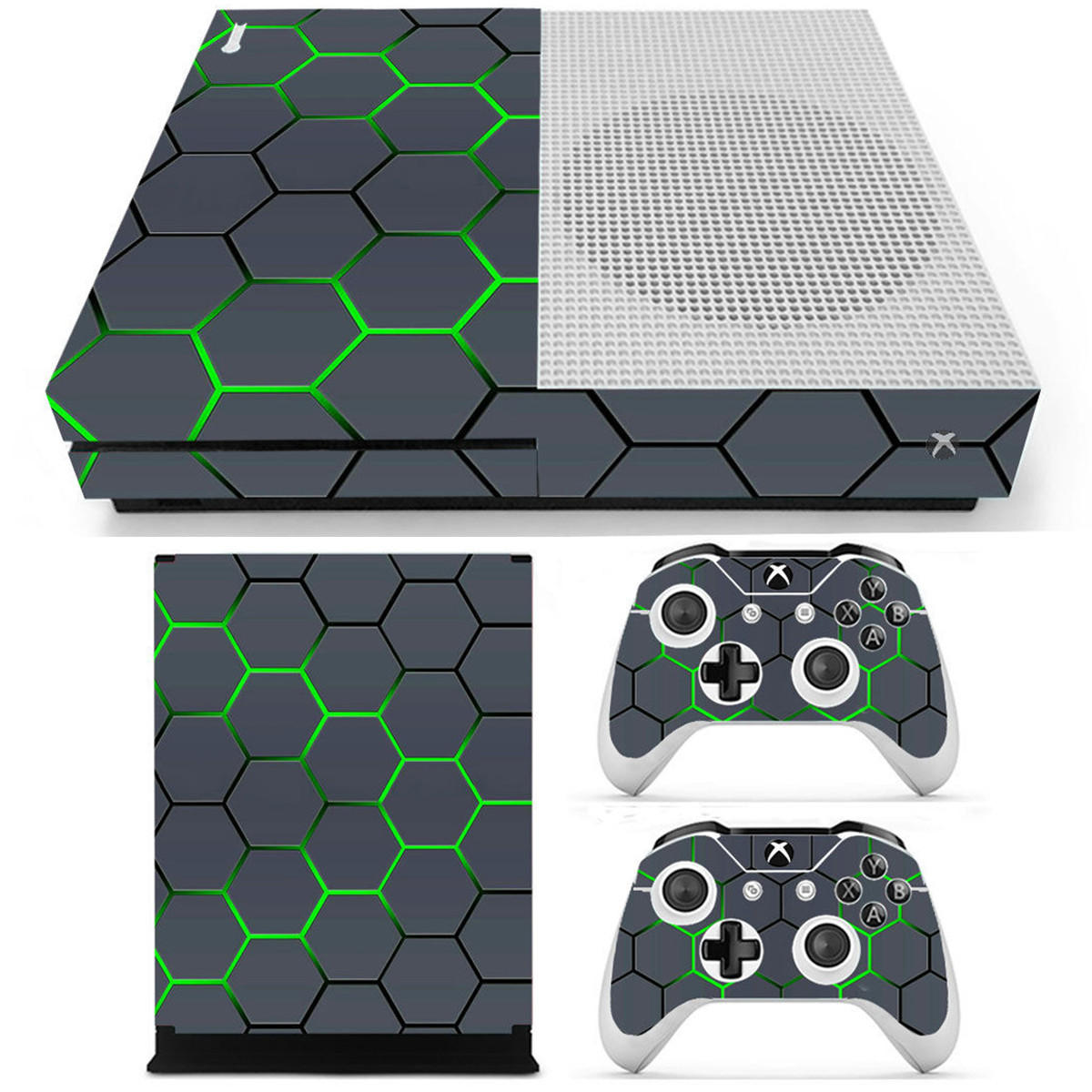 Green Grid Vinyl Decal Skin Stickers Cover voor Xbox One S Game Console & 2 Controllers