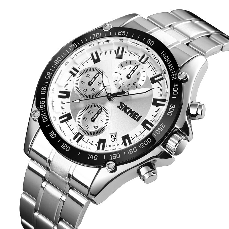 SKMEI 1393 Stainless Steel Business Style Waterproof Date Display Men Wrist Watch Quartz Watches