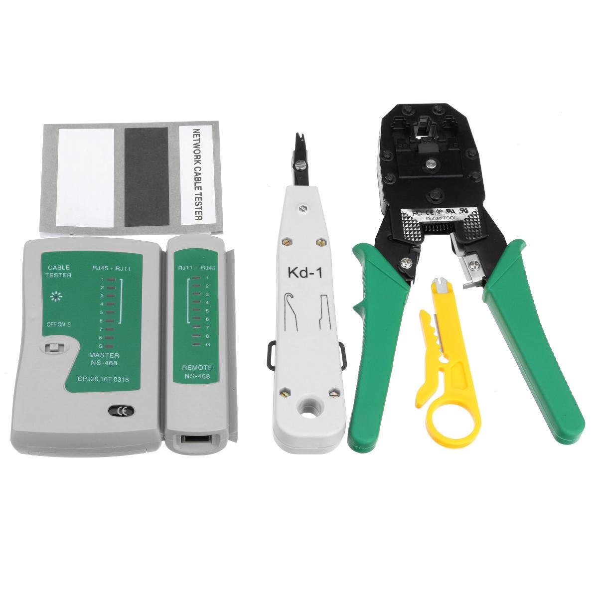 RJ45 RJ11 RJ12 Cat5e 6 LAN Телефонная сеть передачи данных Инструмент Комплект + Модульный штекер + кабельный тестер