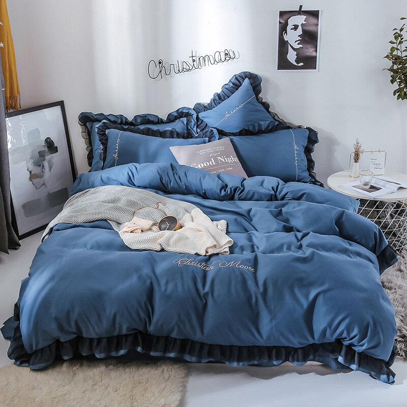 4PCS Solid Color Embroidery Lace Purfle Bedding Set Soft-smooth Duvet Cover Sheet Pillowcases King /Queen Size