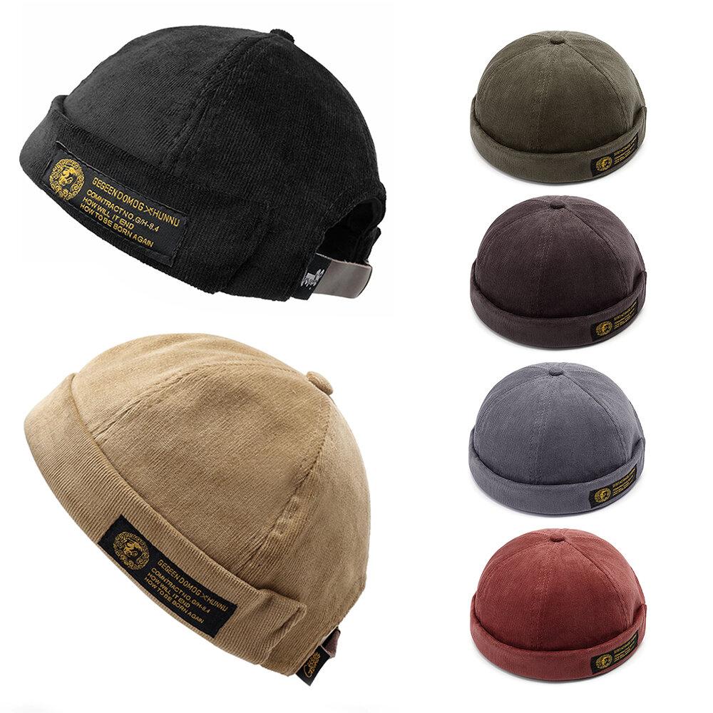 Mens Corduroy Adjustable Solid French Brimless Hat Vogue Retro Skullcap Sailor Cap