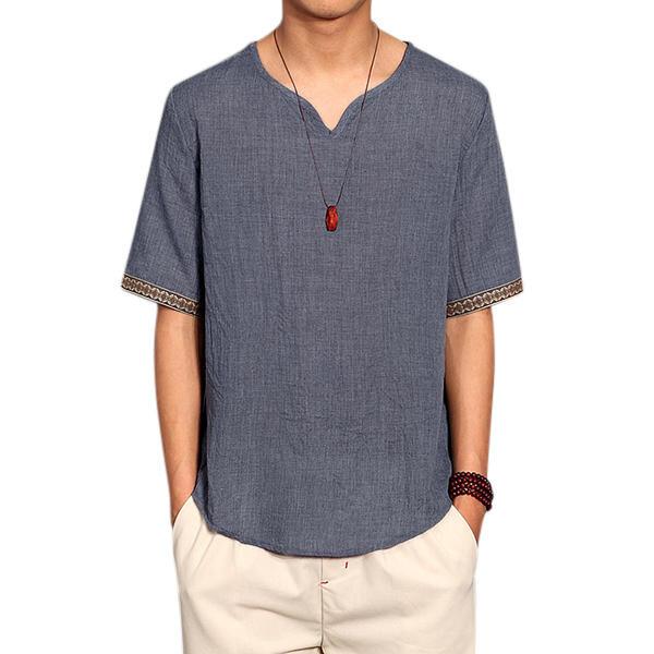 レトロな中国のスタイルのTシャツ夏のメンズリネンソリッドカラーVネック半袖トップスのティー