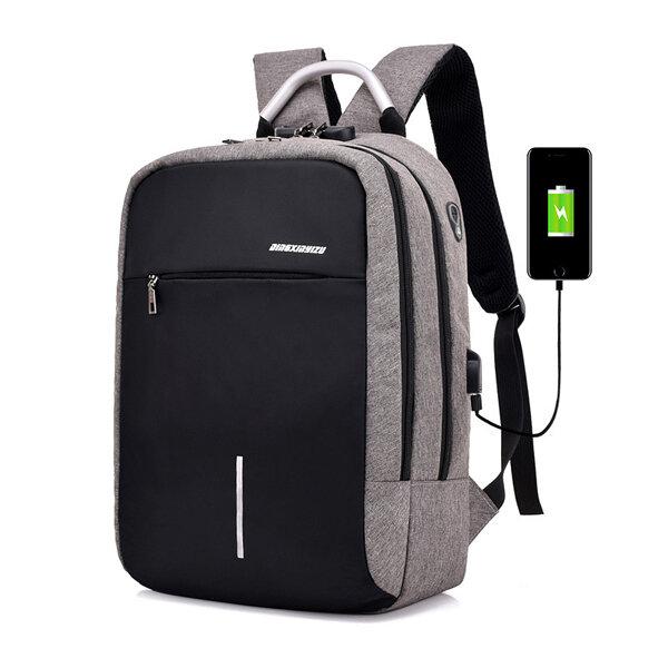 Seyahat Laptop Sırt Çantası Anti Hırsızlık Çanta, Kilit ve USB Şarj Bağlantı Noktası ile