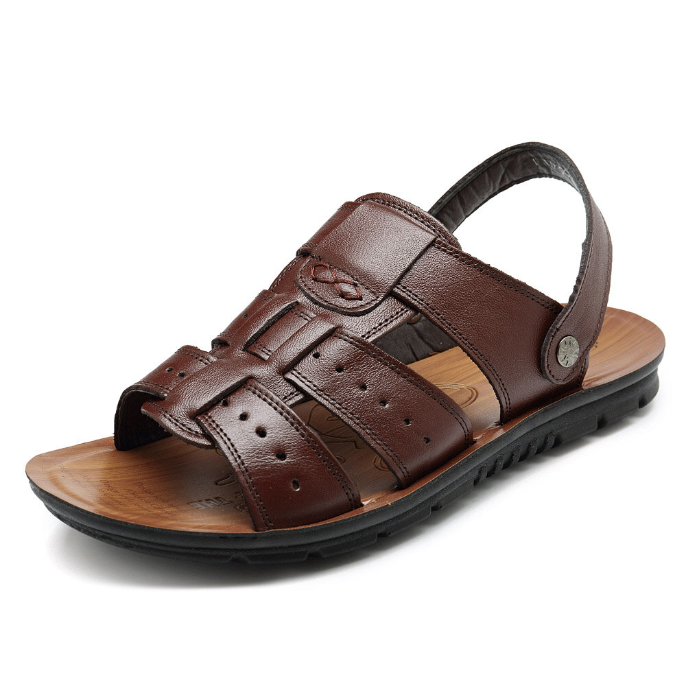 Summer Beach Sandals Slippers Men Comfy Sole Genuine Leather Sandals